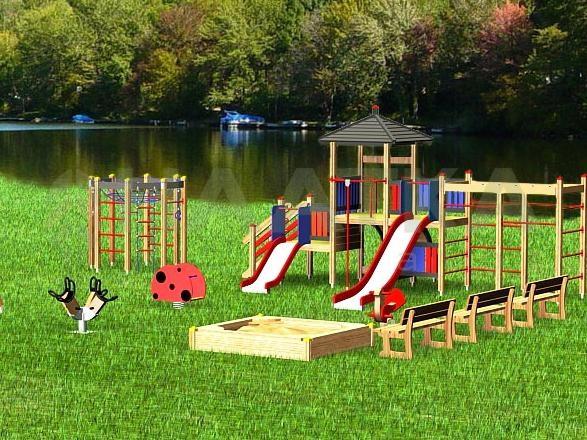 Детская площадка на маленьком участке фото